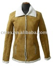 ladies suede compound with lambswool jacket, style no. CY1106
