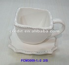 Faux Bois Ceramic Tea Cup and Saucer