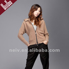 Fashion hooded Cardigan sweater,long sleeves,front zipper closure,WS1109