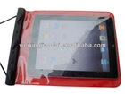 Factory tpu ipad pouch 100% waterproof neck hanging bag with ABS closure touch
