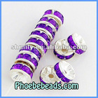 Wholesale 8mm Rondelle Spacers Beads Purple Acryl Crystal Rhinestone Pave Metal Jewelry Accessories Findings RRS-B001A