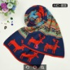 Best-selling Unisex 2012 Fashion Cute New Deer Design Unisex Knitting Pattern Animal Christmas XMAS Scarf