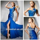 New Design One Shoulder A-Line Split Front Custom Made Blue Formal Evening Dresses 2012