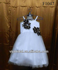 white organza and black flowers kids wedding dresses on sale