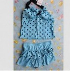 Lovely Dots Halter 2pcs Swimwear Blue HD12061517