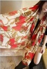 Retro Style Carriage Printed Color Block Scarf Red QZ12092716