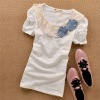 lace and blue bow tie dacorative neck white solf t-shrt
