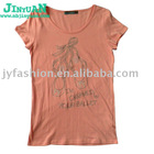 Ladies embroidered letter printed short sleeve t shirt