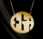 Gold plated Custom Silver Block Monogram Pendant Necklace max 3 letters