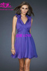 purple v-neck homecoming&party dresses&gown wholesale chiffon plus size cocktail dresses