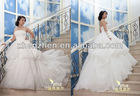 High Fashion Attractive Strapless with Pearls Lace Flowers Ruffles Elegant Organza Wedding Dress Ball Gown WD-B138