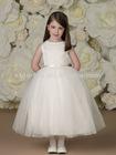 Vertical Rows of Satin Ribbon and Beading Full Dirndl Multi-layered Tulle Skirt Tea-length Flower Girl Dress
