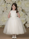 Vertical Rows of Satin Ribbon and Beading Full Dirndl Multi-layered Tulle Skirt Tea-length Flower Girl Dress