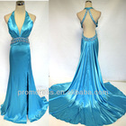 high quality real sample back open halter beaded side slit evening dress RD-92