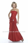 A-Line Strapless Scoop Neckline Ankle Length Taffeta Bridesmaid Dress BD092