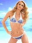 Wella Ultimate Luxury Blue Sequin Embellishment Triangle Type White Bikini Swimwear
