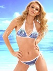 Wella Ultimate Luxury Blue Sequin Embellishment Triangle Type White Bikini Swimwear