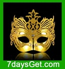 Chrome Venetian Masquerade Mask with Glitter Grown - Gold