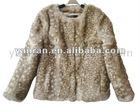 YR-033 Deer Bambi print real rabbit fur jacket