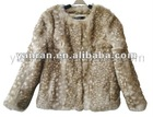 YR-033 Deer Bambi print real rabbit fur jacket