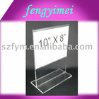 10x8 rotating acrylic menu frame/persepx menu holder/plexiglass menu holder/lucite menu stand