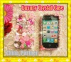 CUTE PINK CRYSTAL BLING FLOWER AND CROWN CASE FOR CELLPHONE MOBILEPHONE