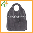 Customized resuable nylon foldable shopping bag with pouch in black