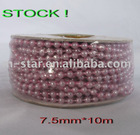 STOCK!10m Purple Wedding Pearl Bead Rope Garland 7.5mm