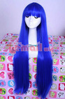 Amime Long Straight royal blue Cosplay Party Hair Wig CW723