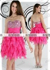 AZP028 Strapless Sweetheart A-line Short Ruffle Organza Prom dress 2012