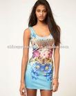 OEM fit slim sleeveless fancy full printing dress