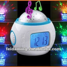 Bac Starry Sky LED Projector Music Alarm Clock with klight Calendar and Thermometer White