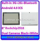 "android tablets with 3g and phone call HDMI RockChip 2918 1.2GHZ 3G Bluetooth 8"" (813)"