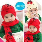Toddler baby girl boy scarf ladybird beanie hat cap(#1965)
