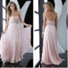 sequin trim the sweetheart neckline beaded applique Pink Strapless Chiffon Prom Dress