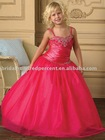 Lovely Spaghetti Strap Red Shine Sequins Beaded Pageant Flower Girl Dress