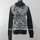 Ladies printed fleece hoody jacket ZY32050