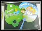 Factory: High quality offset print PP plastic Fan wiht handle