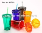 PS hard plastic cups with straw