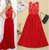 2012 new arrival Europe celebrity sexy white/red fashion lace maxi long party Dresses CH036