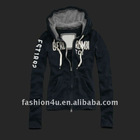 Fashion women autumn zipper black hoodie
