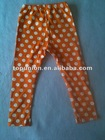 ORANGE and white polka dot baby cotton leggings cotton pants for baby,
