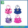 2013 cute and lovely custom silicone rubber baby bib with different pattern