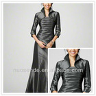Fine Brand Grey Color Long Sleeve Stand-up Collar Maxi Mother of Bride Dress