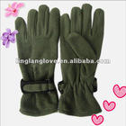 men's plain dyed polar fleece gloves with magic tape