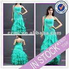 Long one shoulder chiffon ruffle with soft petticoat Mermaid style evening dress 2012