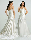 New Arrival Applique Strapless Pure White Satin Wedding Dress