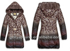 first down jackets with animal printing and fur trim