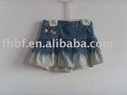 girls kids cute denim short skirts with ruffle