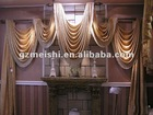 100% Polyester jacquard dying window curtains fabric/valance